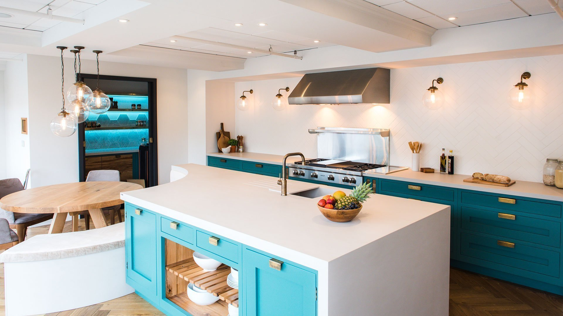 Angled view of Corian® island and worktops