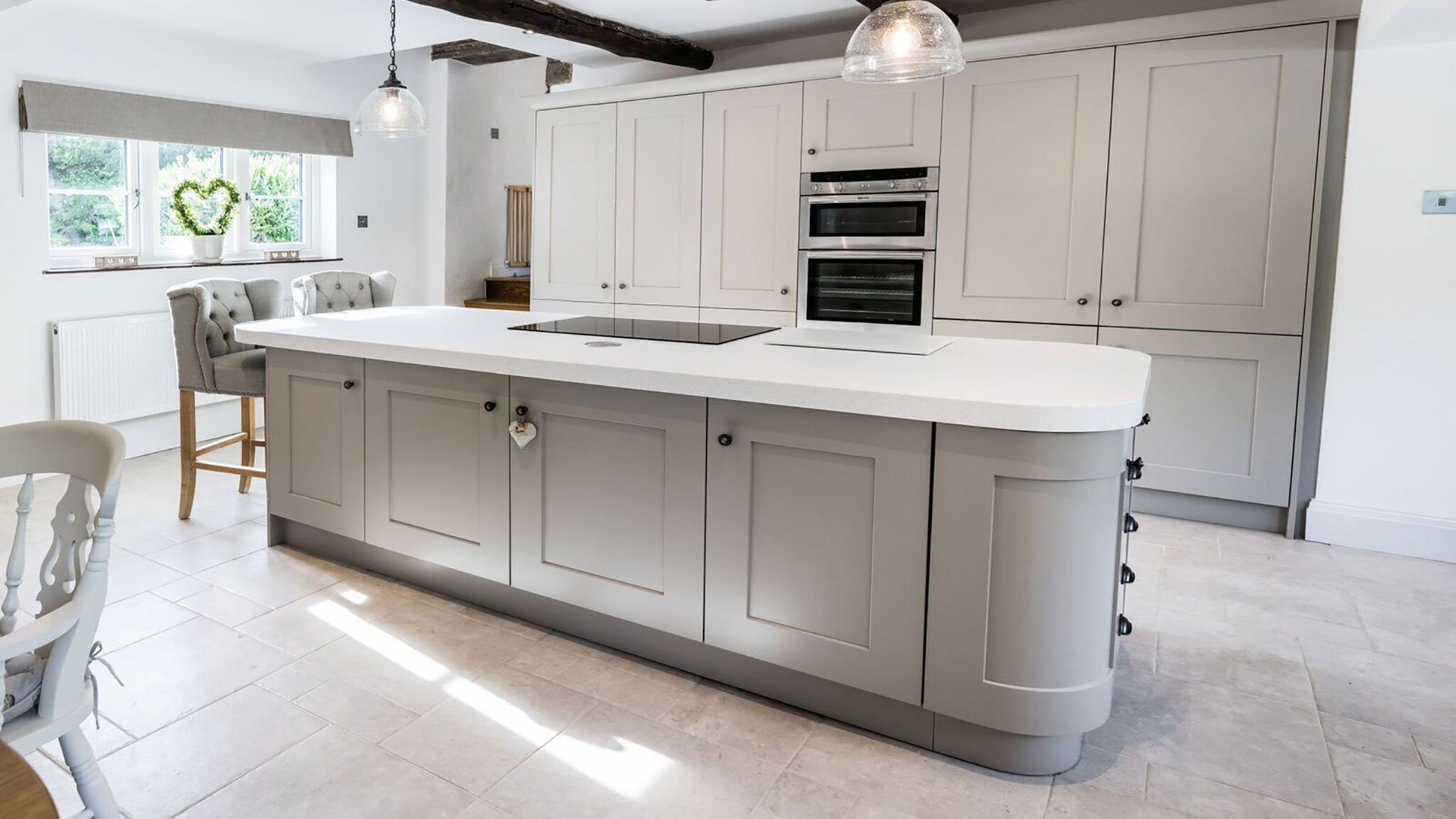 Corian® island within a traditional shaker style kitchen