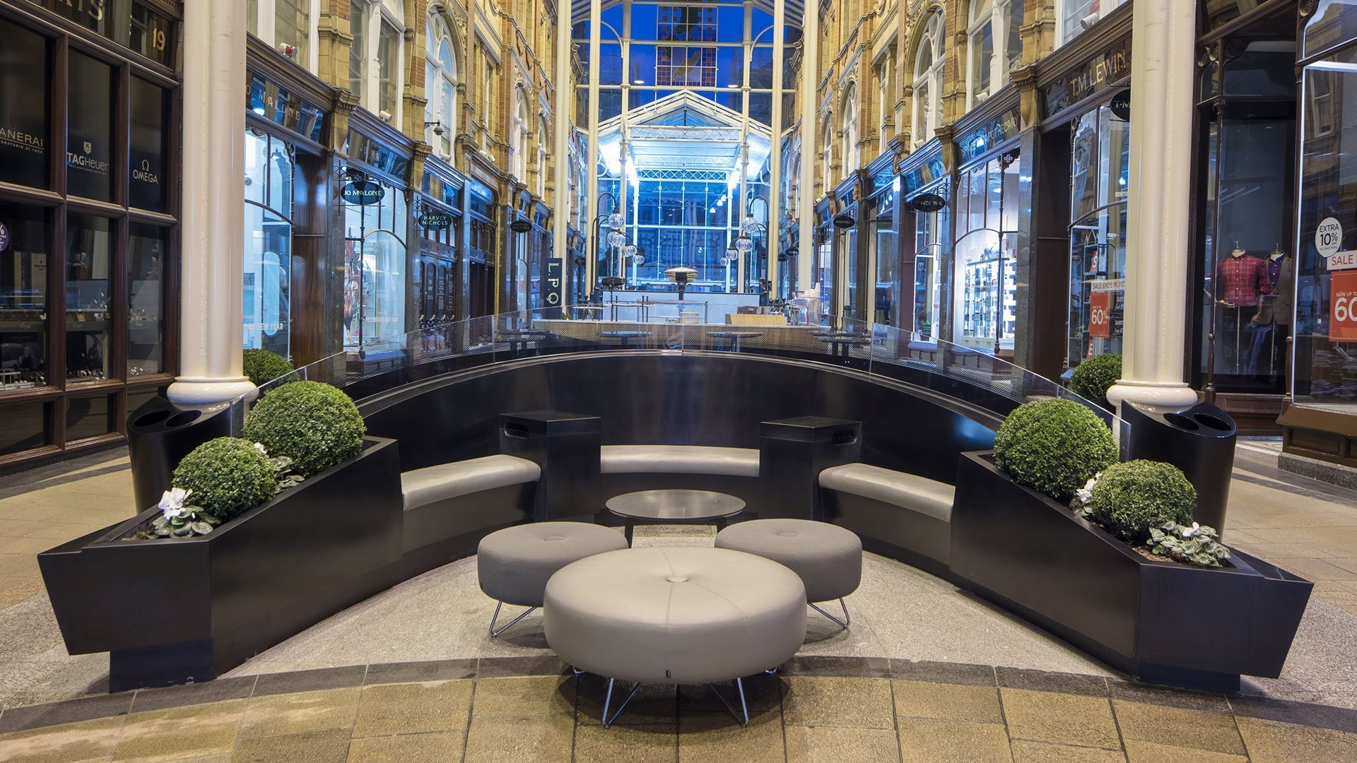 Corian seating area in Victoria Gate & Victoria Quarter, Leeds