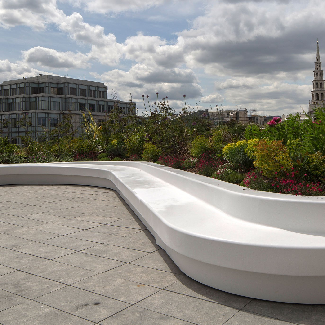 An external Corian® thermoformed bench