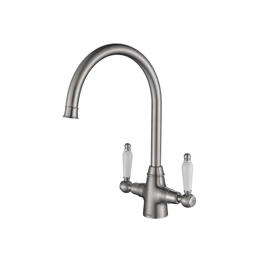 Rodex Twin Lever Tap - Brushed Steel