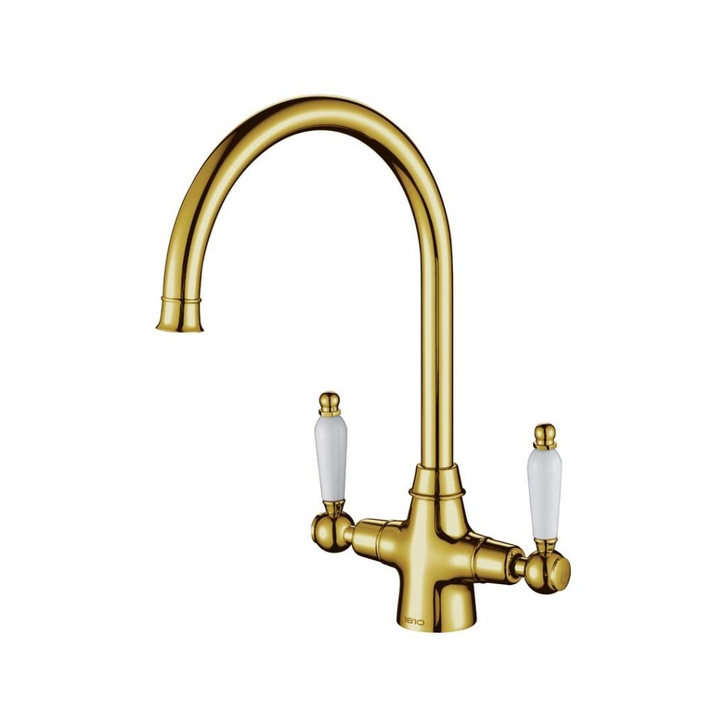 Rodex Twin Lever Tap - Gold Brass